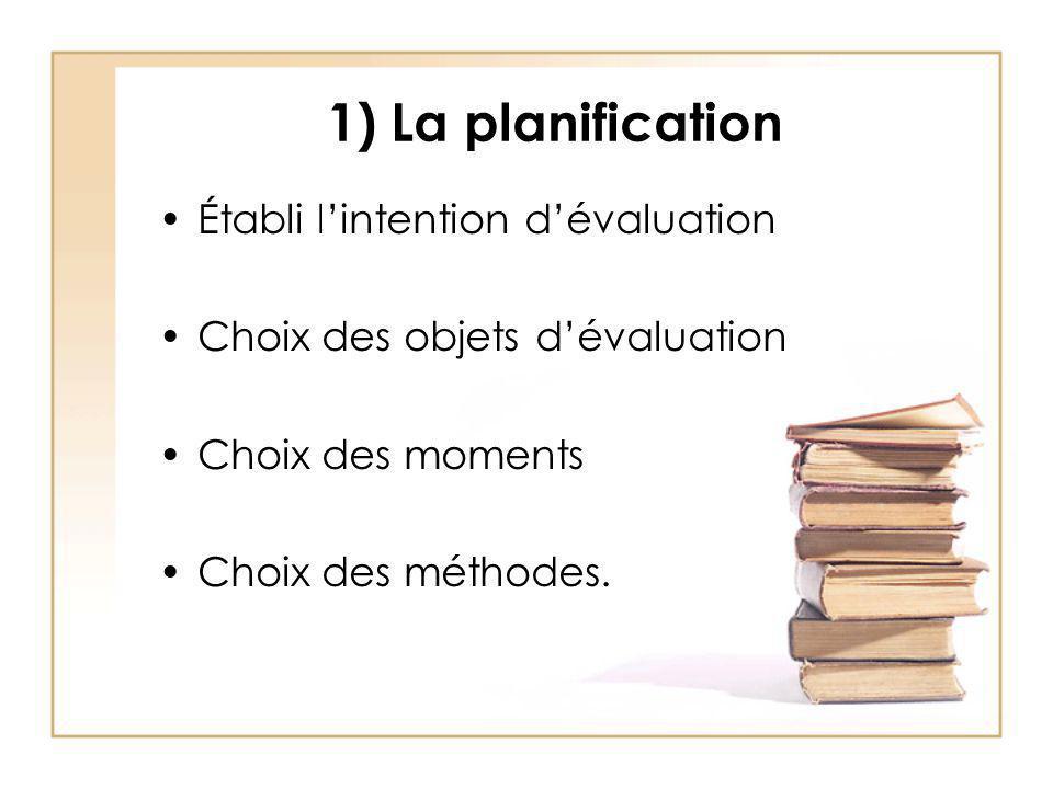 1) La planification Établi lintention dévaluation Choix des objets dévaluation Choix des moments Choix des méthodes.
