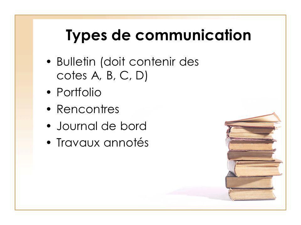 Types de communication Bulletin (doit contenir des cotes A, B, C, D) Portfolio Rencontres Journal de bord Travaux annotés