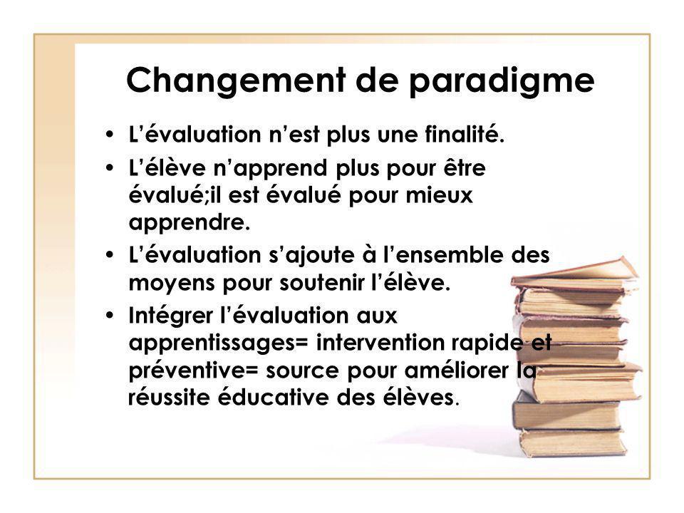 Changement de paradigme Lévaluation nest plus une finalité. Lélève napprend plus pour être évalué;il est évalué pour mieux apprendre. Lévaluation sajo