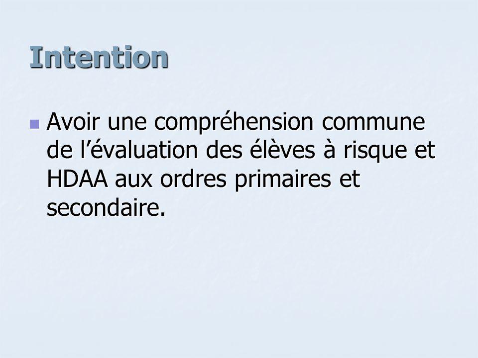 Intention Avoir une compréhension commune de lévaluation des élèves à risque et HDAA aux ordres primaires et secondaire.