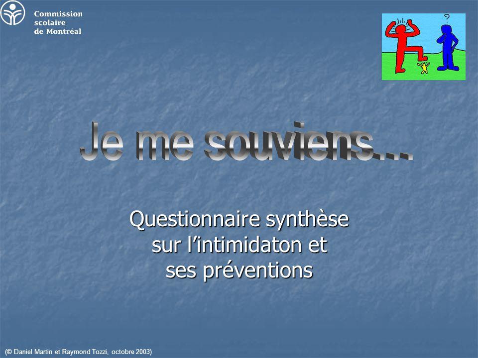 Questionnaire synthèse sur lintimidaton et ses préventions (© Daniel Martin et Raymond Tozzi, octobre 2003)