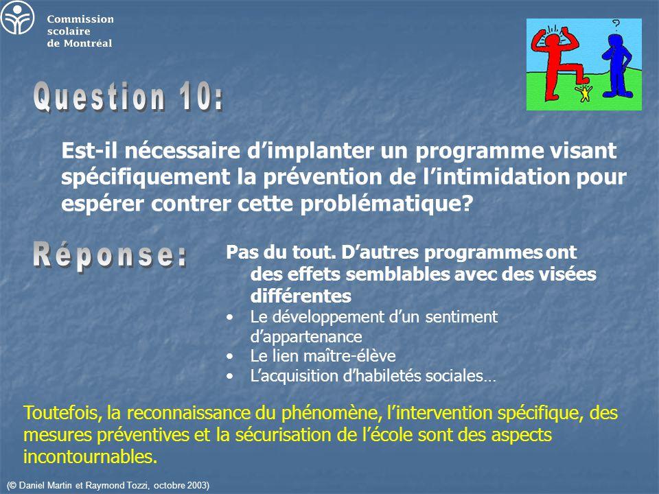 (© Daniel Martin et Raymond Tozzi, octobre 2003) Est-il nécessaire dimplanter un programme visant spécifiquement la prévention de lintimidation pour espérer contrer cette problématique.