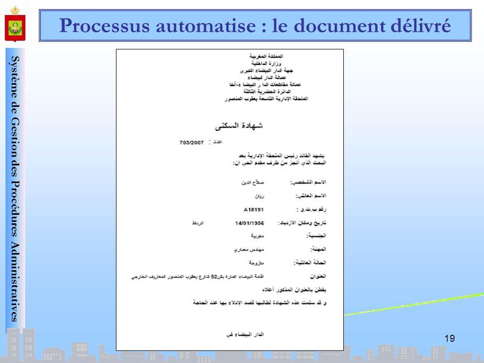 Système de Gestion des Procédures Administratives 19 Processus automatise : le document délivré