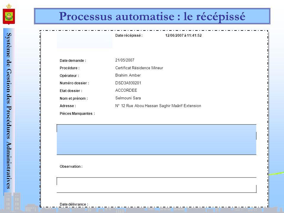 Système de Gestion des Procédures Administratives Processus automatise : le récépissé Date récépissé :12/06/2007 à 11:41:52 Date demande : 21/05/2007