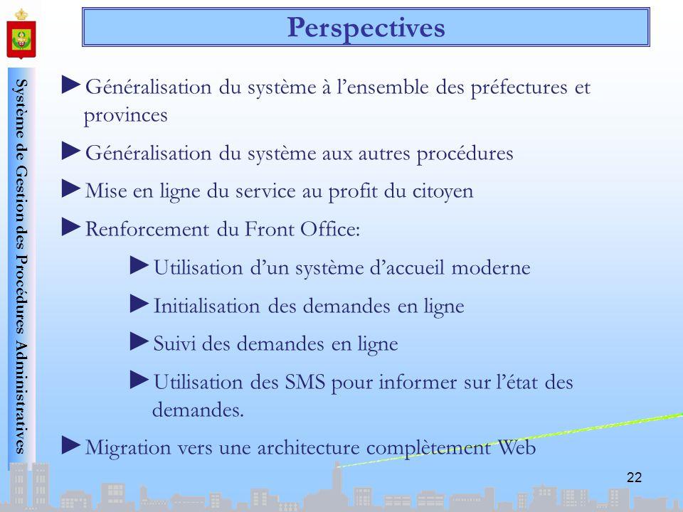 Système de Gestion des Procédures Administratives 22 Généralisation du système à lensemble des préfectures et provinces Généralisation du système aux