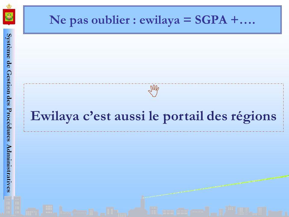 Système de Gestion des Procédures Administratives Ne pas oublier : ewilaya = SGPA +…. Ewilaya cest aussi le portail des régions