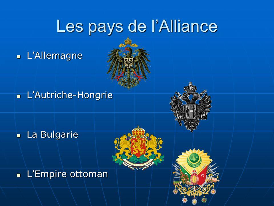 Les pays de lAlliance LAllemagne LAllemagne LAutriche-Hongrie LAutriche-Hongrie La Bulgarie La Bulgarie LEmpire ottoman LEmpire ottoman