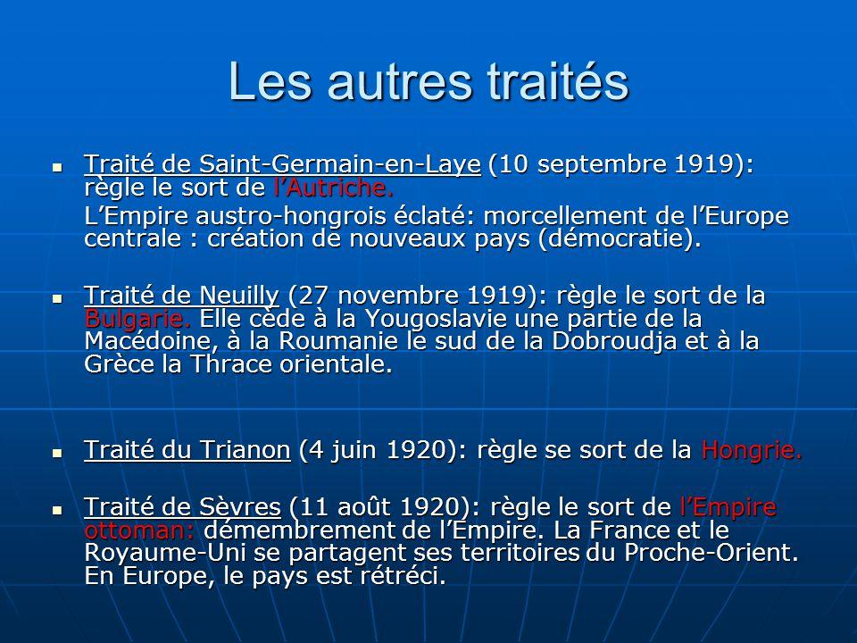 Les autres traités Traité de Saint-Germain-en-Laye (10 septembre 1919): règle le sort de lAutriche.
