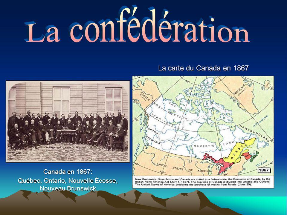 Canada en 1867: Québec, Ontario, Nouvelle Écosse, Nouveau Brunswick La carte du Canada en 1867