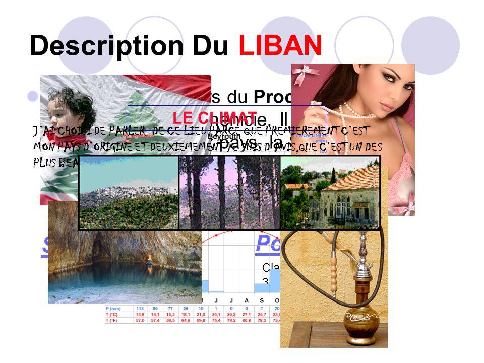 Description Du LIBAN Le Liban est un pays du Proche-Orient, autrefois l'antique Phénicie. Il partage ses frontières avec deux pays, la Syrie à l'Est,