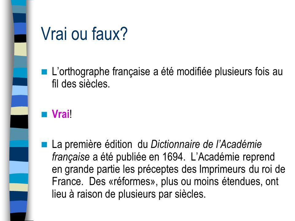 Vrai ou faux. Lorthographe française a été modifiée plusieurs fois au fil des siècles.