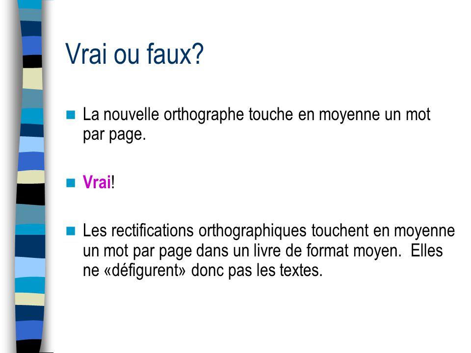 Vrai ou faux.Lorthographe française a été modifiée plusieurs fois au fil des siècles.