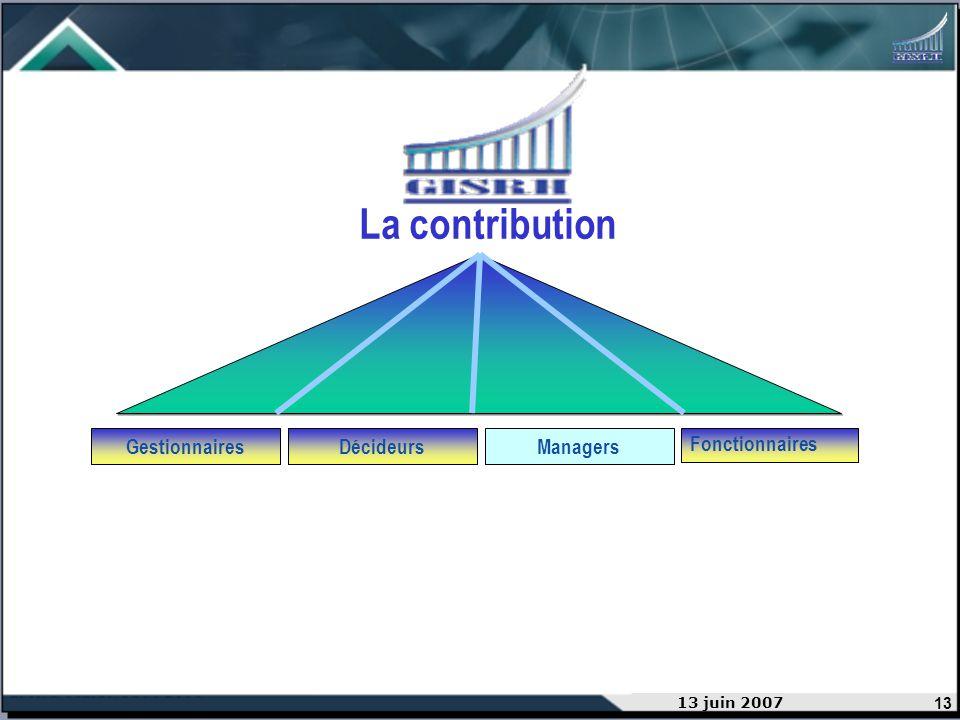 13 13 juin 2007 GestionnairesDécideurs Managers Fonctionnaires La contribution