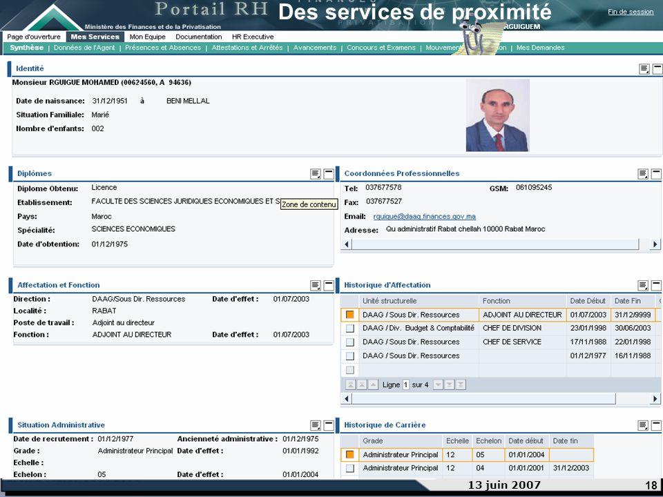 18 13 juin 2007 Des services de proximité