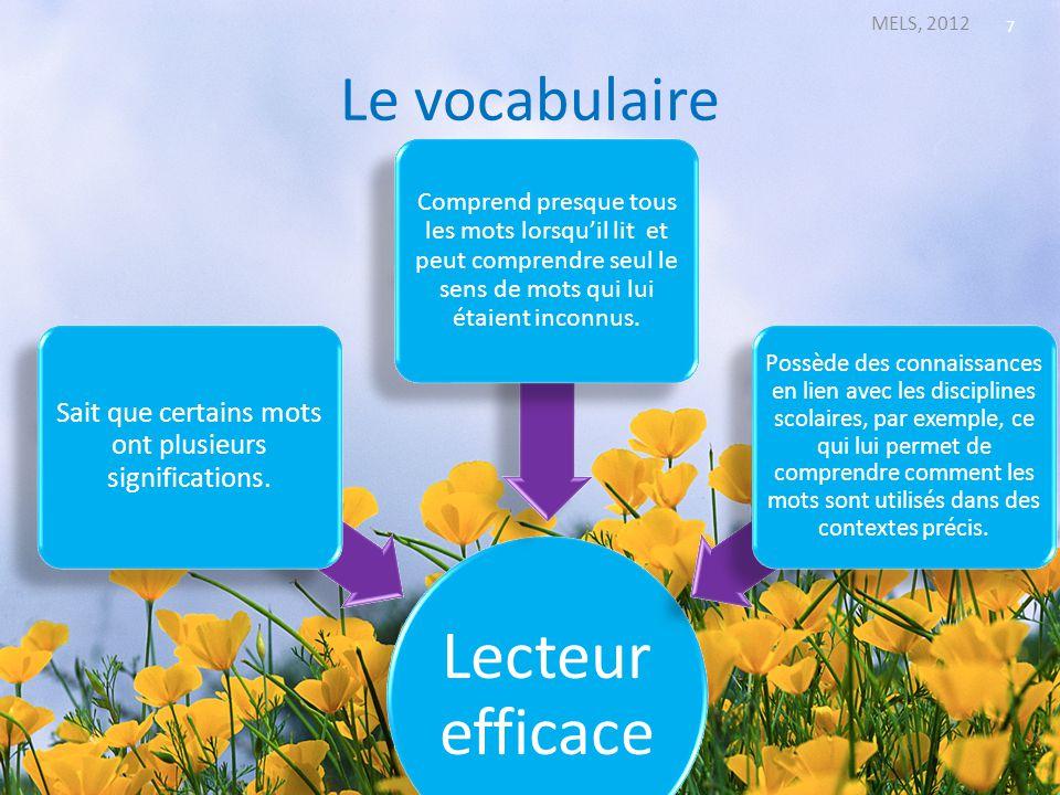 Le vocabulaire (suite) MELS, 2012 8 Lecteur en difficulté Connaît la signification de peu de mots, possède un lexique limité.