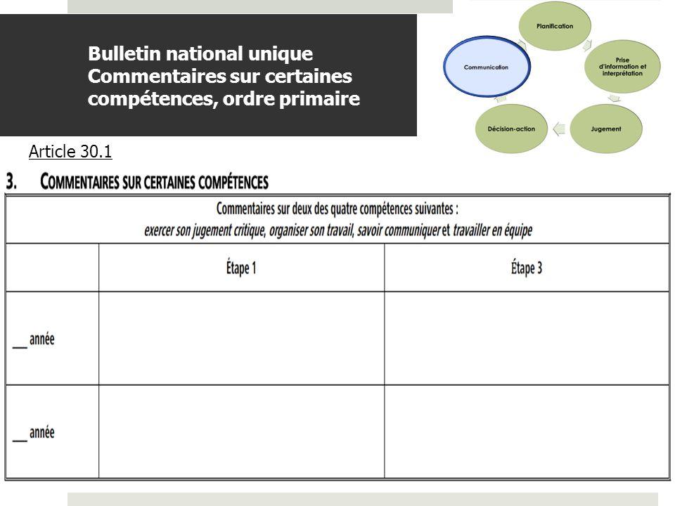 BDGAP-RI- Document de travail Bulletin national unique Commentaires sur certaines compétences, ordre secondaire Article 30.1
