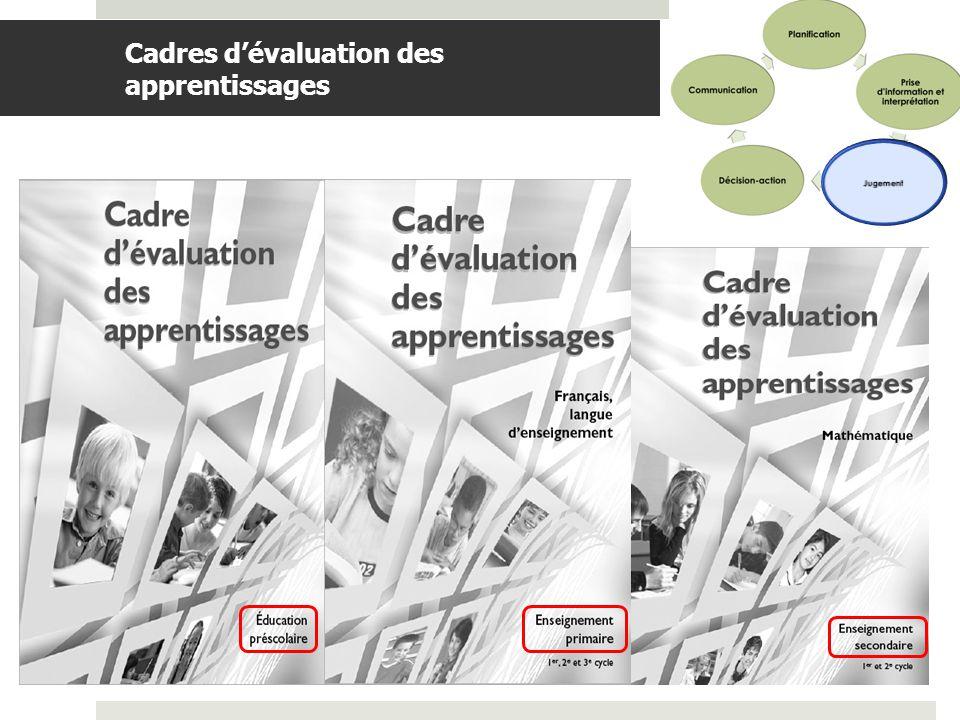 BDGAP-RI- Document de travail Cadres dévaluation des apprentissages (suite) Les cadres dévaluation des apprentissages sont prescriptifs Balises nécessaires à lévaluation des apprentissages prévues au PFÉQ.