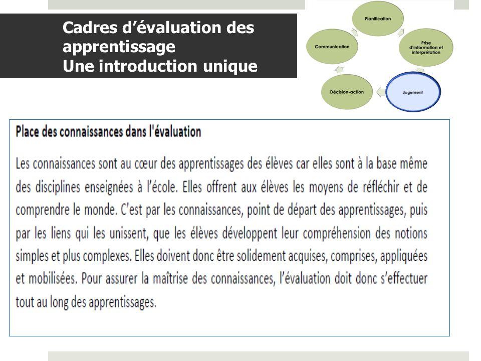 BDGAP-RI- Document de travail Cadres dévaluation des apprentissage Une introduction unique (suite)