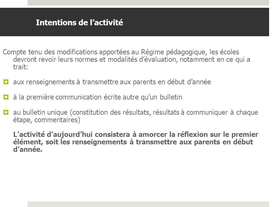 BDGAP-RI- Document de travail Renseignements à transmettre aux parents en début dannée relativement à la nature et à la période des principales évaluations (Régime pédagogique, article 20.4) 20.