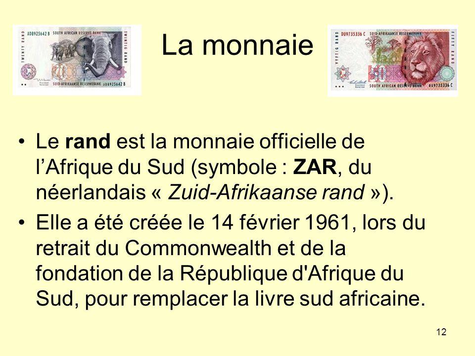 12 La monnaie Le rand est la monnaie officielle de lAfrique du Sud (symbole : ZAR, du néerlandais « Zuid-Afrikaanse rand »). Elle a été créée le 14 fé