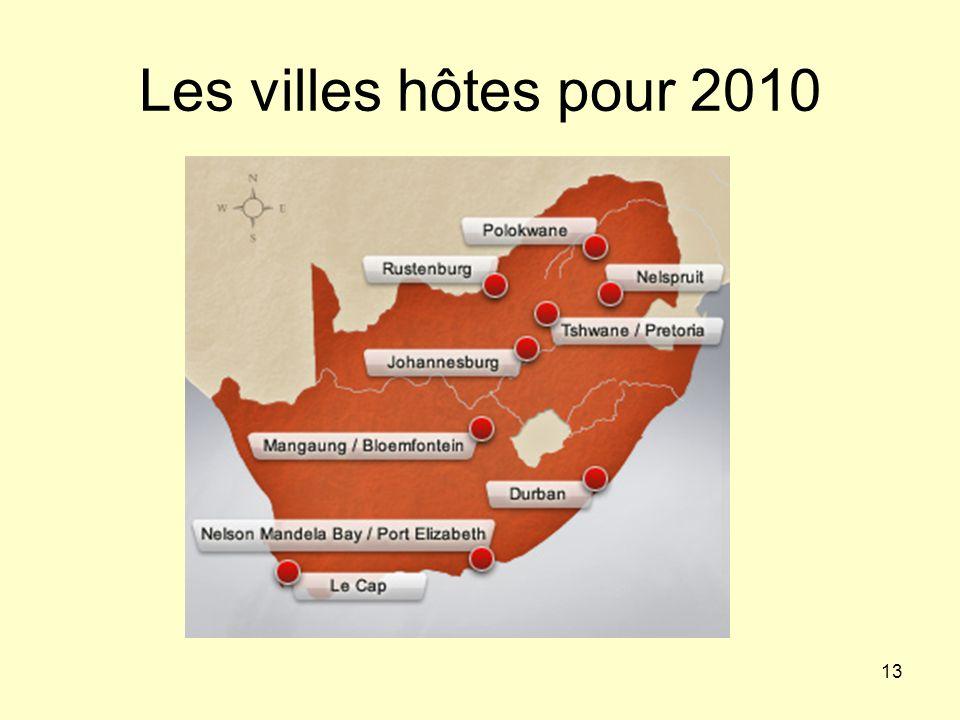 13 Les villes hôtes pour 2010