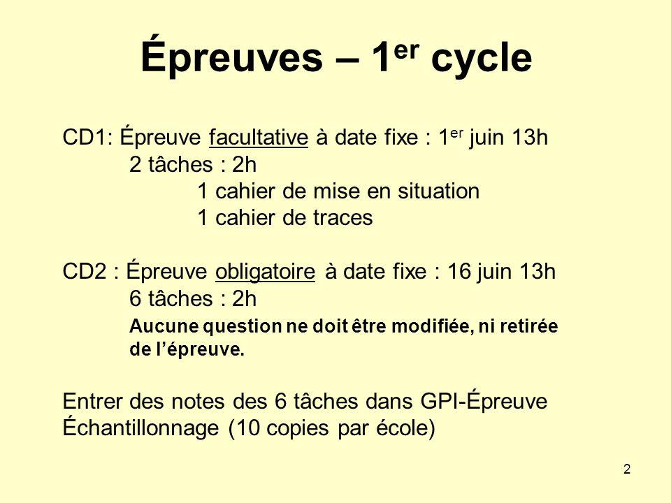 2 Épreuves – 1 er cycle CD1: Épreuve facultative à date fixe : 1 er juin 13h 2 tâches : 2h 1 cahier de mise en situation 1 cahier de traces CD2 : Épre