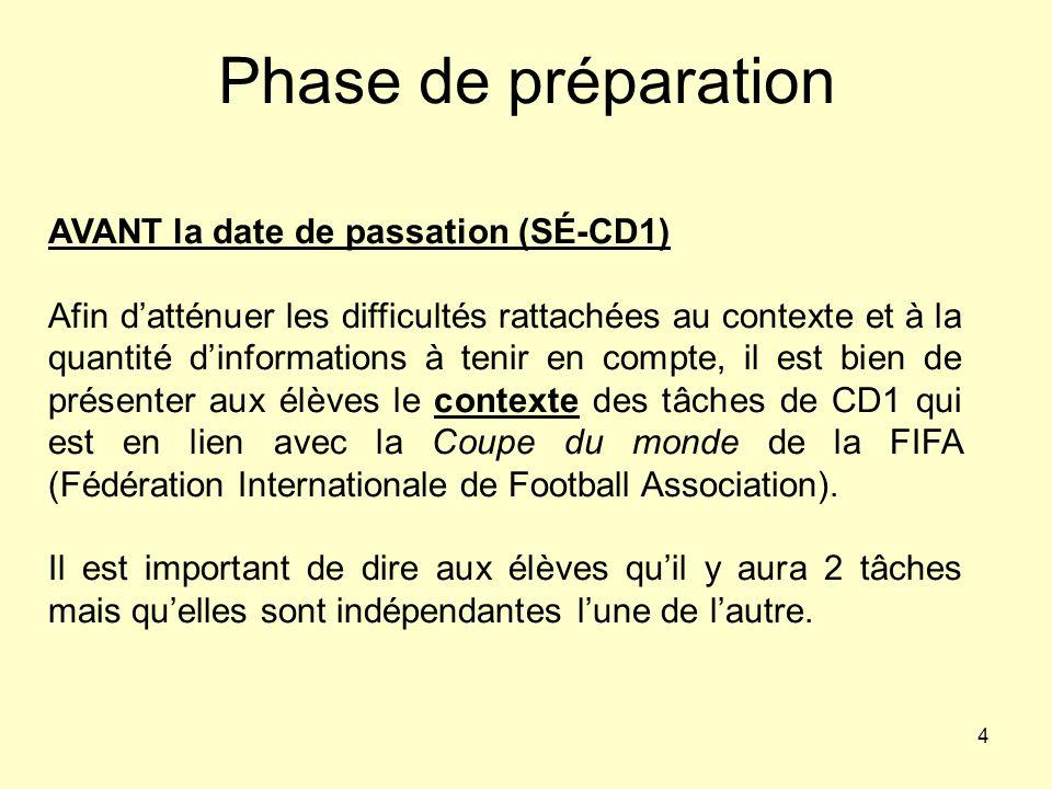 4 Phase de préparation AVANT la date de passation (SÉ-CD1) Afin datténuer les difficultés rattachées au contexte et à la quantité dinformations à teni