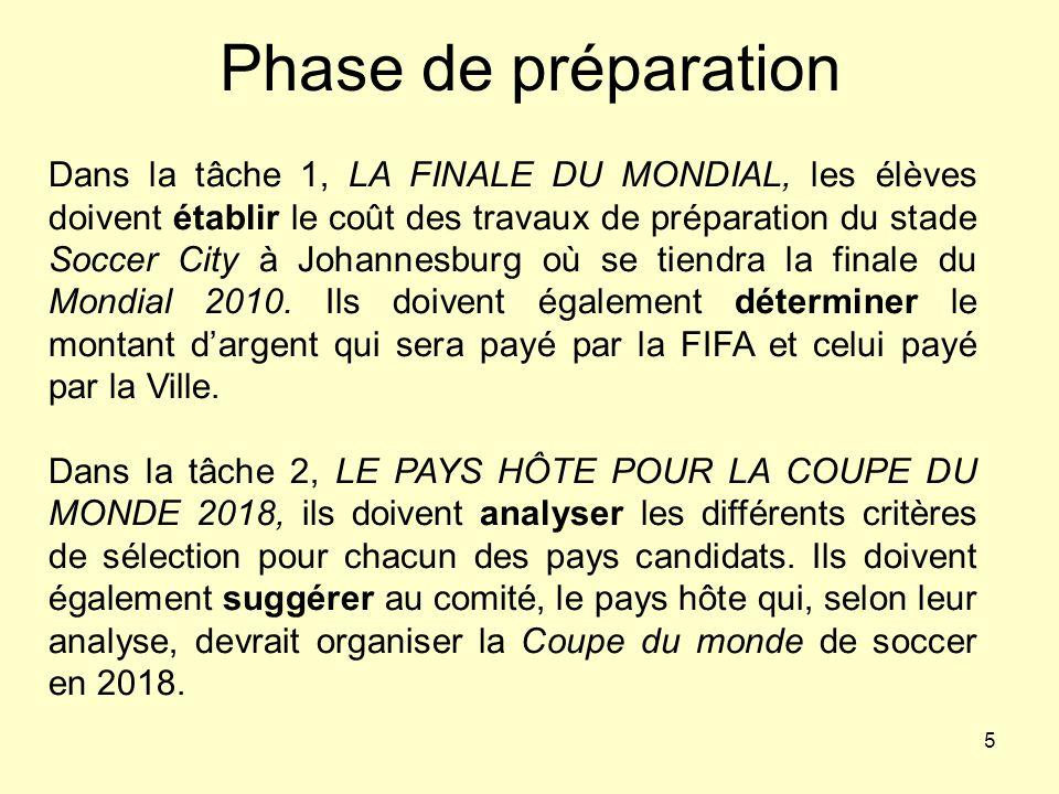 5 Phase de préparation Dans la tâche 1, LA FINALE DU MONDIAL, les élèves doivent établir le coût des travaux de préparation du stade Soccer City à Joh