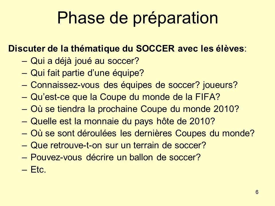 6 Phase de préparation Discuter de la thématique du SOCCER avec les élèves: –Qui a déjà joué au soccer? –Qui fait partie dune équipe? –Connaissez-vous