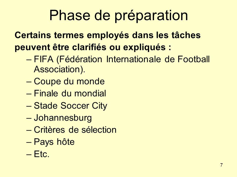 7 Phase de préparation Certains termes employés dans les tâches peuvent être clarifiés ou expliqués : –FIFA (Fédération Internationale de Football Ass