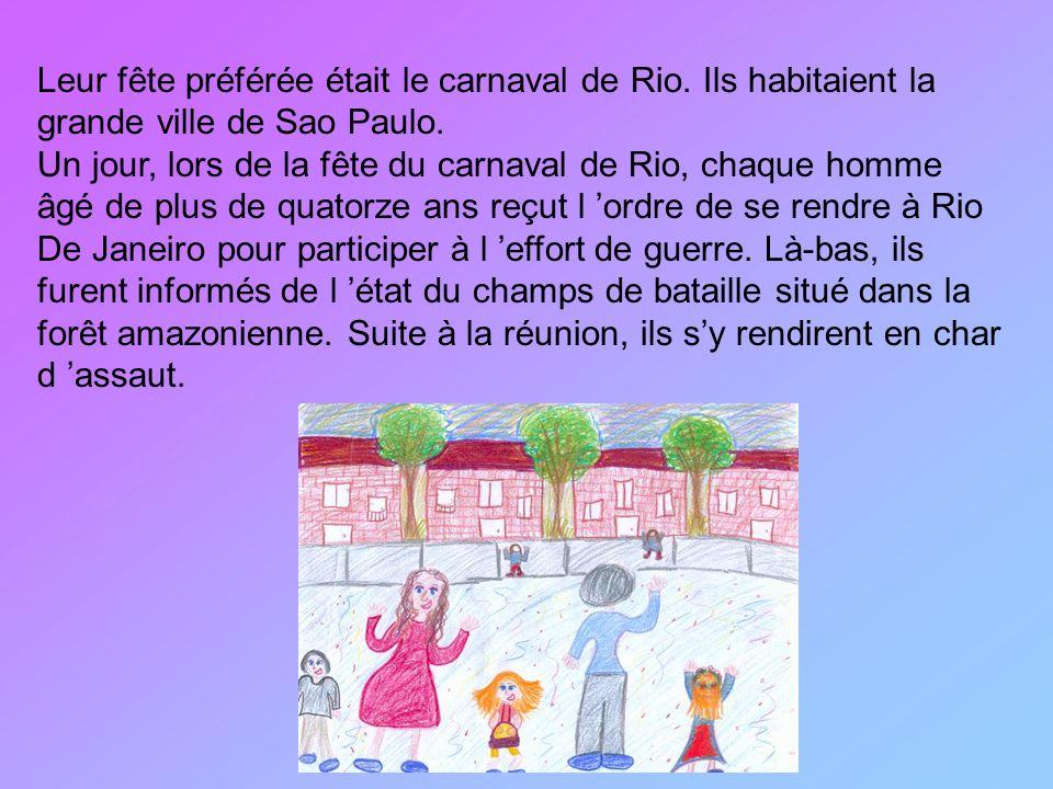 Leur fête préférée était le carnaval de Rio. Ils habitaient la grande ville de Sao Paulo. Un jour, lors de la fête du carnaval de Rio, chaque homme âg