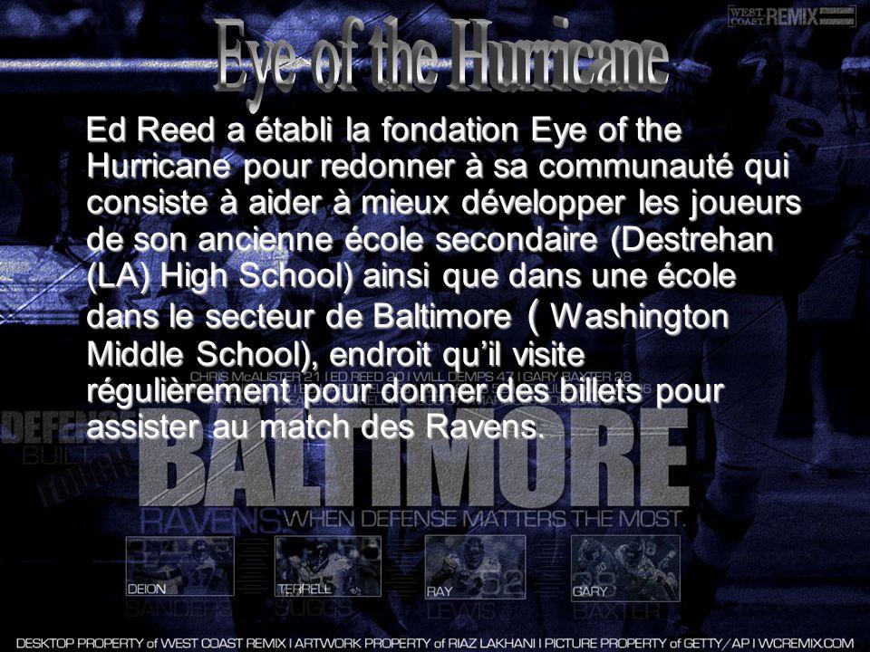 Ed Reed a établi la fondation Eye of the Hurricane pour redonner à sa communauté qui consiste à aider à mieux développer les joueurs de son ancienne école secondaire (Destrehan (LA) High School) ainsi que dans une école dans le secteur de Baltimore ( Washington Middle School), endroit quil visite régulièrement pour donner des billets pour assister au match des Ravens.