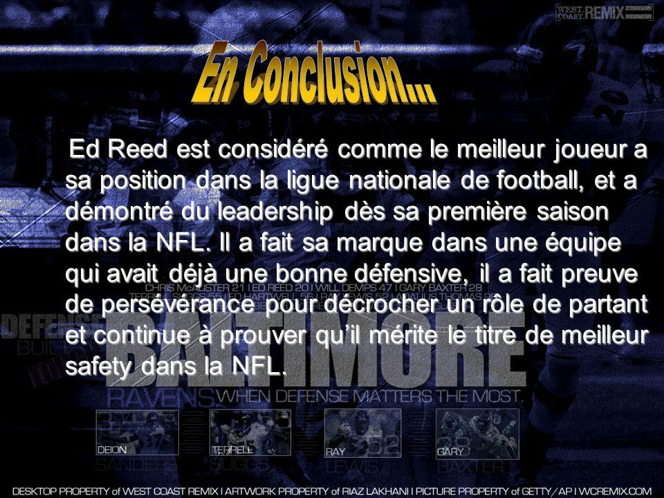 Official Site of the National Football League [En Ligne] 2008Official Site of the National Football League [En Ligne] 2008http://www.nfl.com/players/edreed/profile?id=REE192451 Baltimore Ravens [En Ligne] 2008Baltimore Ravens [En Ligne] 2008 http://www.baltimoreravens.com/home/ http://www.baltimoreravens.com/home/