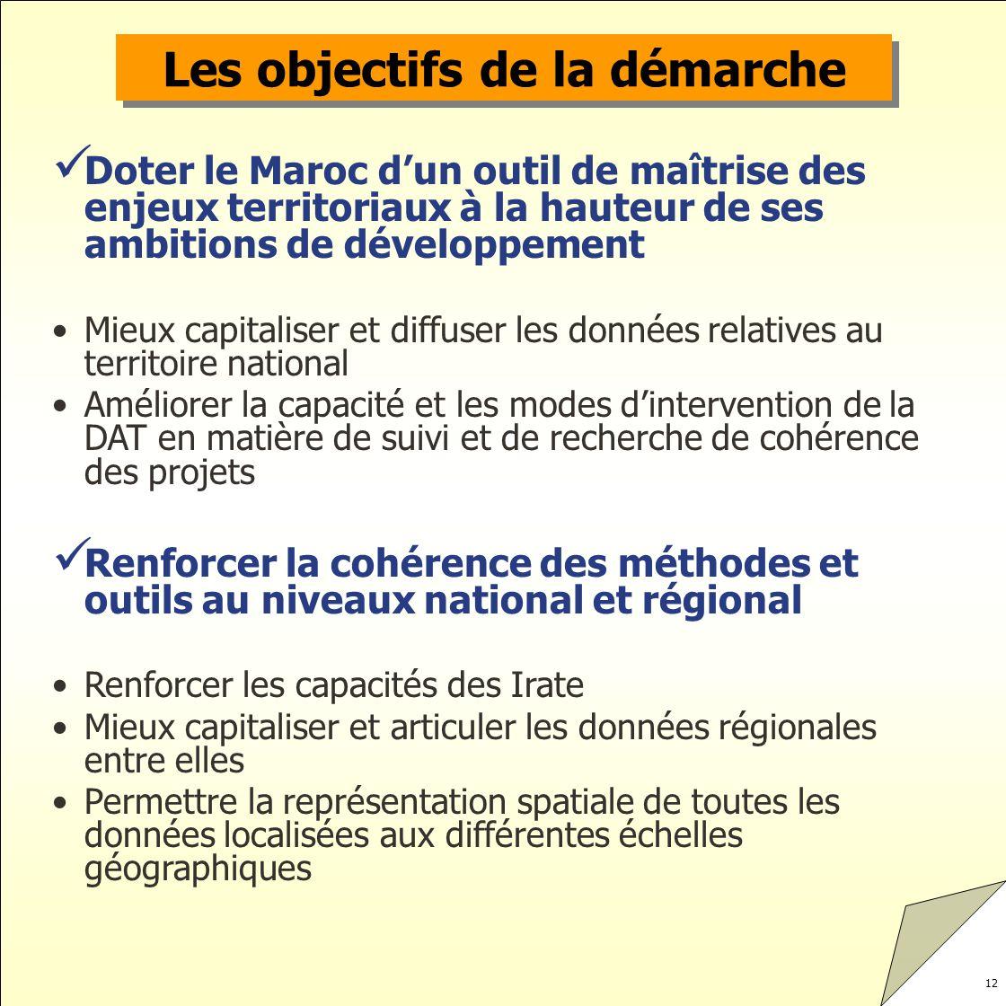12 Les objectifs de la démarche Doter le Maroc dun outil de maîtrise des enjeux territoriaux à la hauteur de ses ambitions de développement Mieux capi