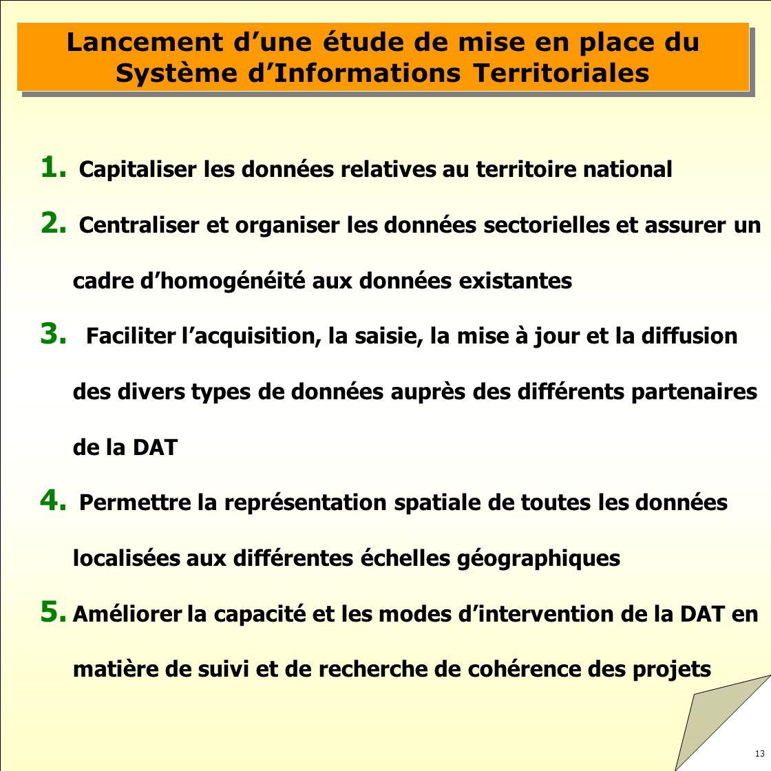13 Lancement dune étude de mise en place du Système dInformations Territoriales 1. Capitaliser les données relatives au territoire national 2. Central