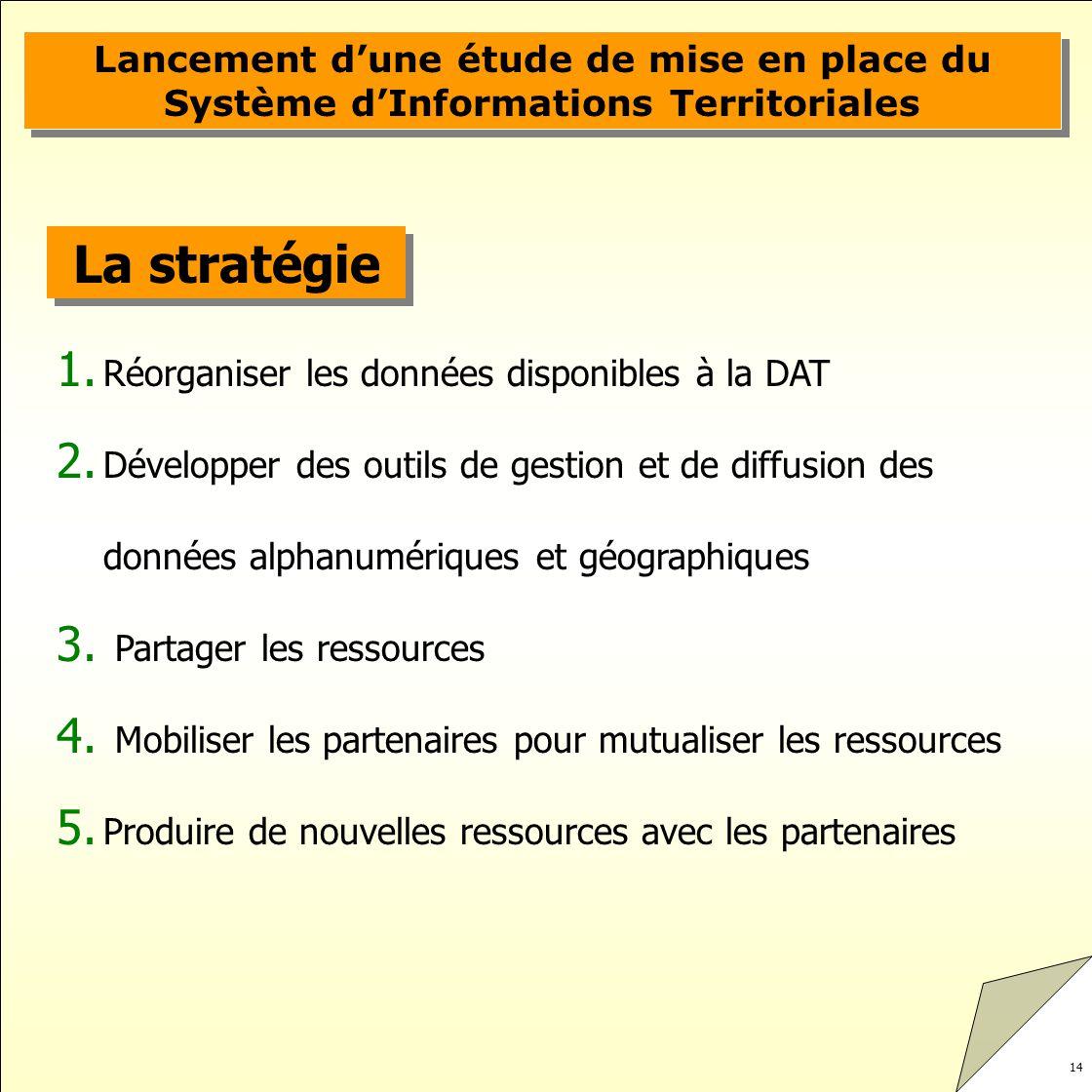 14 Lancement dune étude de mise en place du Système dInformations Territoriales La stratégie 1. Réorganiser les données disponibles à la DAT 2. Dévelo