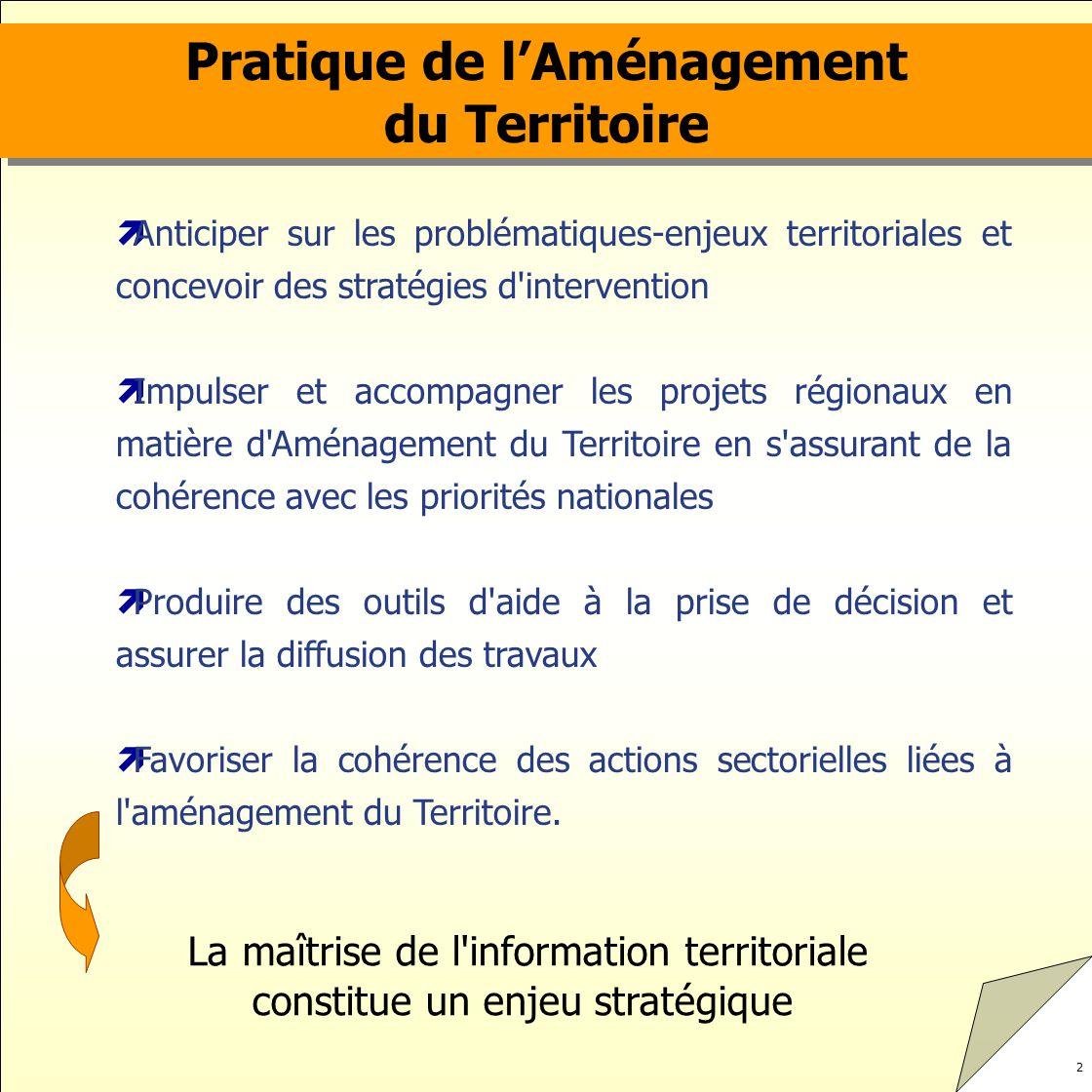 2 La maîtrise de l'information territoriale constitue un enjeu stratégique Pratique de lAménagement du Territoire Pratique de lAménagement du Territoi
