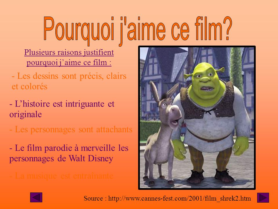 Portrait Caractéristiques physiques Traits de caractère Voix Source des photos : www.cannes-fest.com/2001/film_shrek2.htm -grand et gros - peau de cou