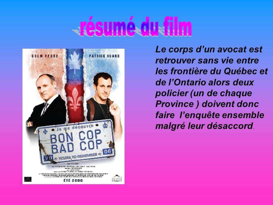 Le corps dun avocat est retrouver sans vie entre les frontière du Québec et de lOntario alors deux policier (un de chaque Province ) doivent donc faire lenquête ensemble malgré leur désaccord.