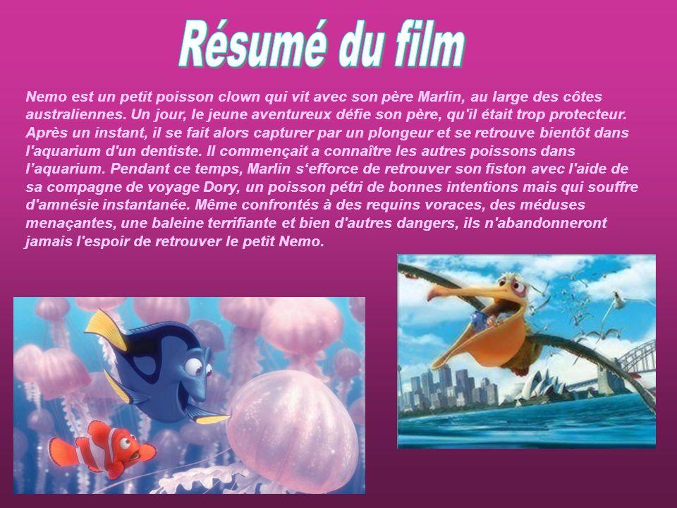 Nemo est un petit poisson clown qui vit avec son père Marlin, au large des côtes australiennes. Un jour, le jeune aventureux défie son père, qu'il éta