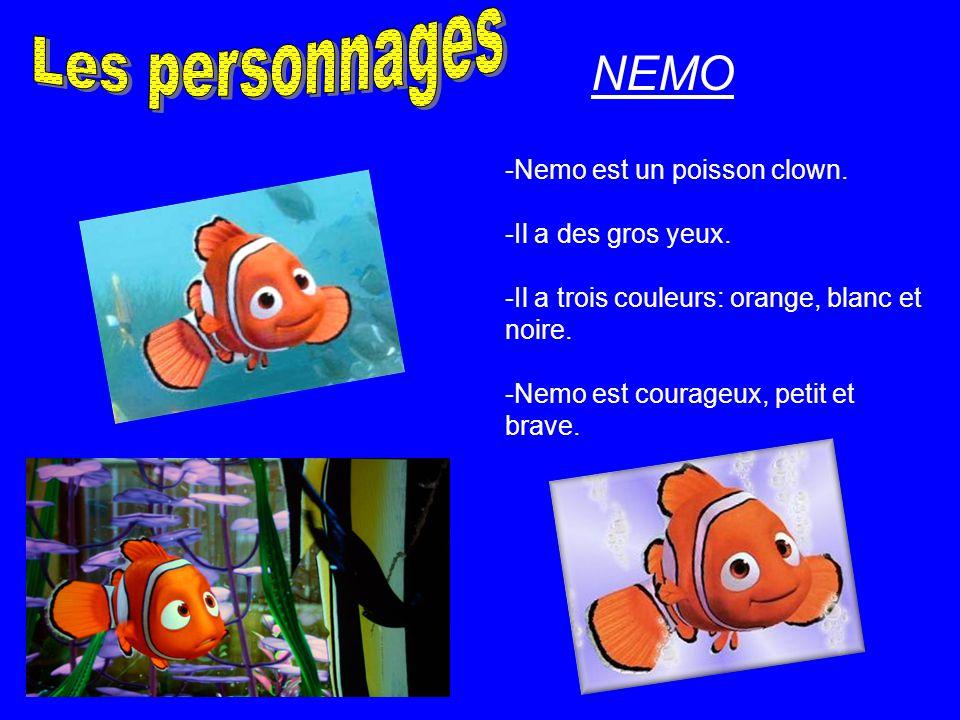 -Nemo est un poisson clown. -Il a des gros yeux. -Il a trois couleurs: orange, blanc et noire. -Nemo est courageux, petit et brave. NEMO