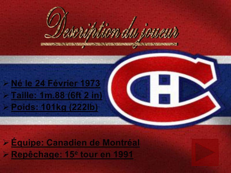 Né le 24 Février 1973 Taille: 1m.88 (6ft 2 in) Poids: 101kg (222lb) Équipe: Canadien de Montréal Repêchage: 15 e tour en 1991