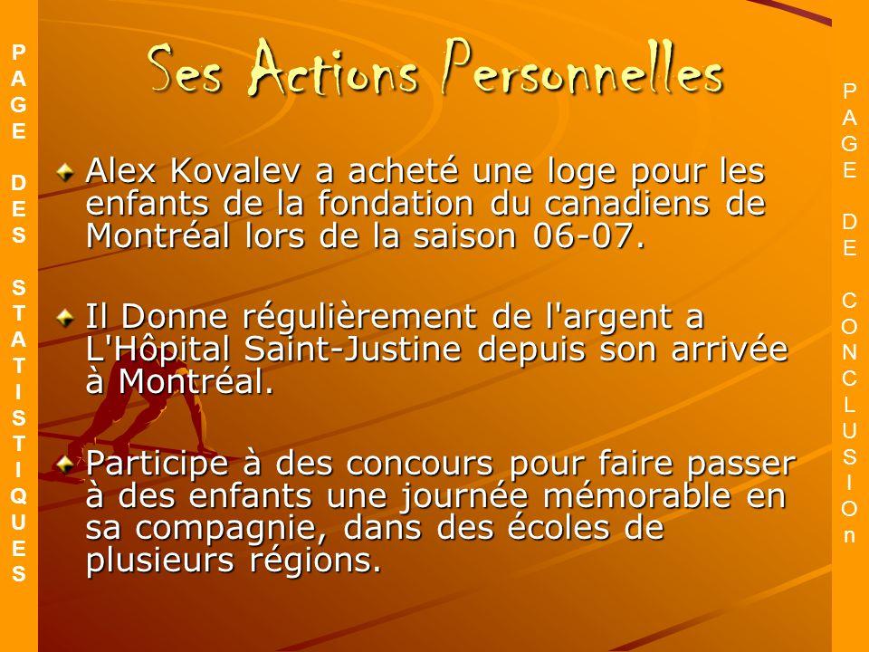 Ses Actions Personnelles Alex Kovalev a acheté une loge pour les enfants de la fondation du canadiens de Montréal lors de la saison 06-07.