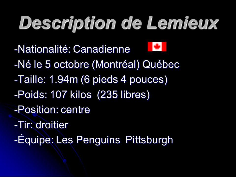 Description de Lemieux -Nationalité: Canadienne -Né le 5 octobre (Montréal) Québec -Taille: 1.94m (6 pieds 4 pouces) -Poids: 107 kilos (235 libres) -Position: centre -Tir: droitier -Équipe: Les Penguins Pittsburgh