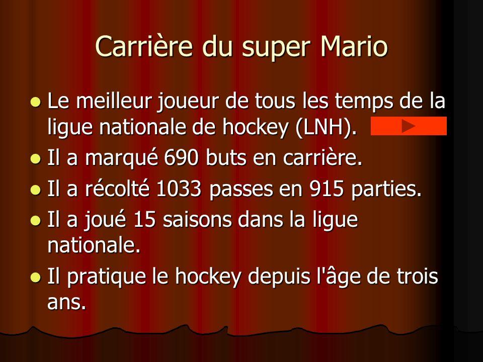 Carrière du super Mario Le meilleur joueur de tous les temps de la ligue nationale de hockey (LNH).