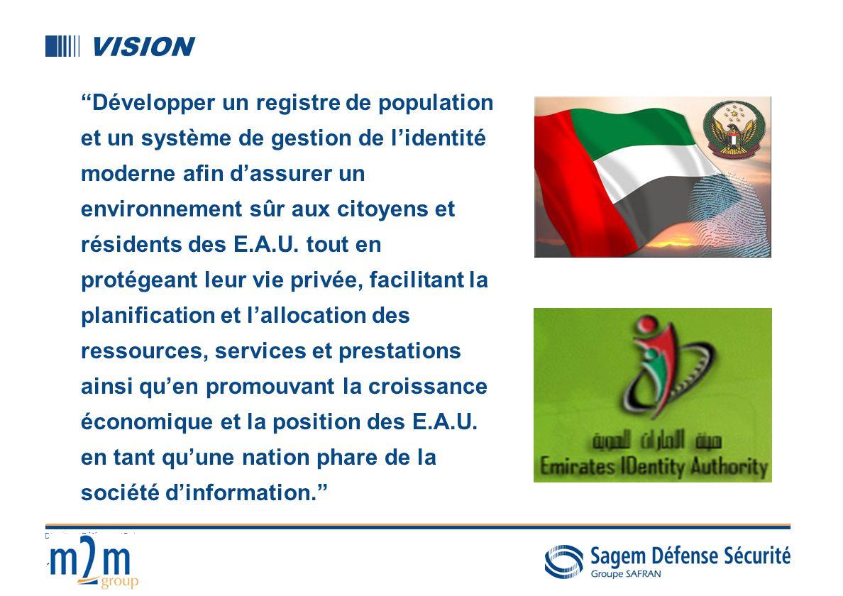 11 Direction / Référence / Date VISION Développer un registre de population et un système de gestion de lidentité moderne afin dassurer un environneme
