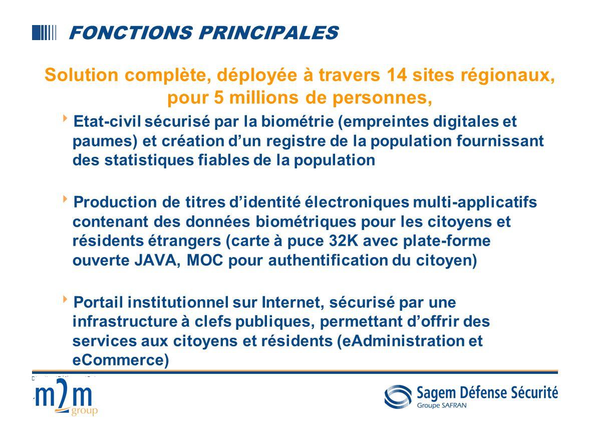 12 Direction / Référence / Date FONCTIONS PRINCIPALES Etat-civil sécurisé par la biométrie (empreintes digitales et paumes) et création dun registre d