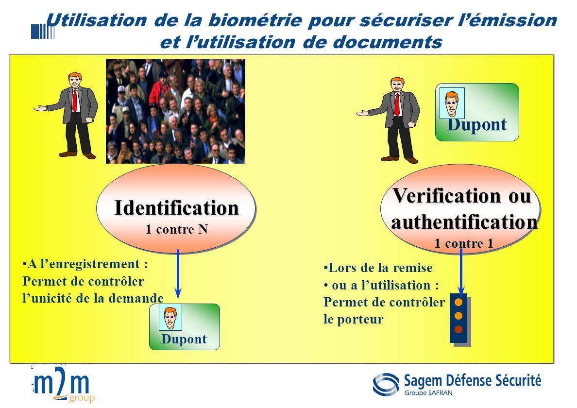 7 Direction / Référence / Date Utilisation de la biométrie pour sécuriser lémission et lutilisation de documents Dupont Identification 1 contre N Veri