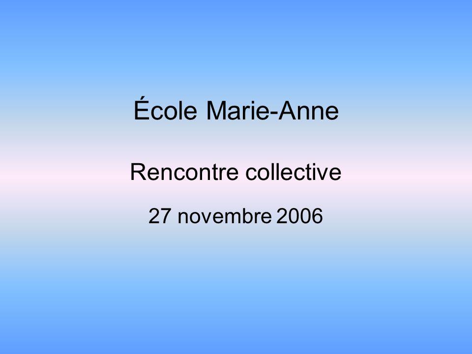 École Marie-Anne Rencontre collective 27 novembre 2006