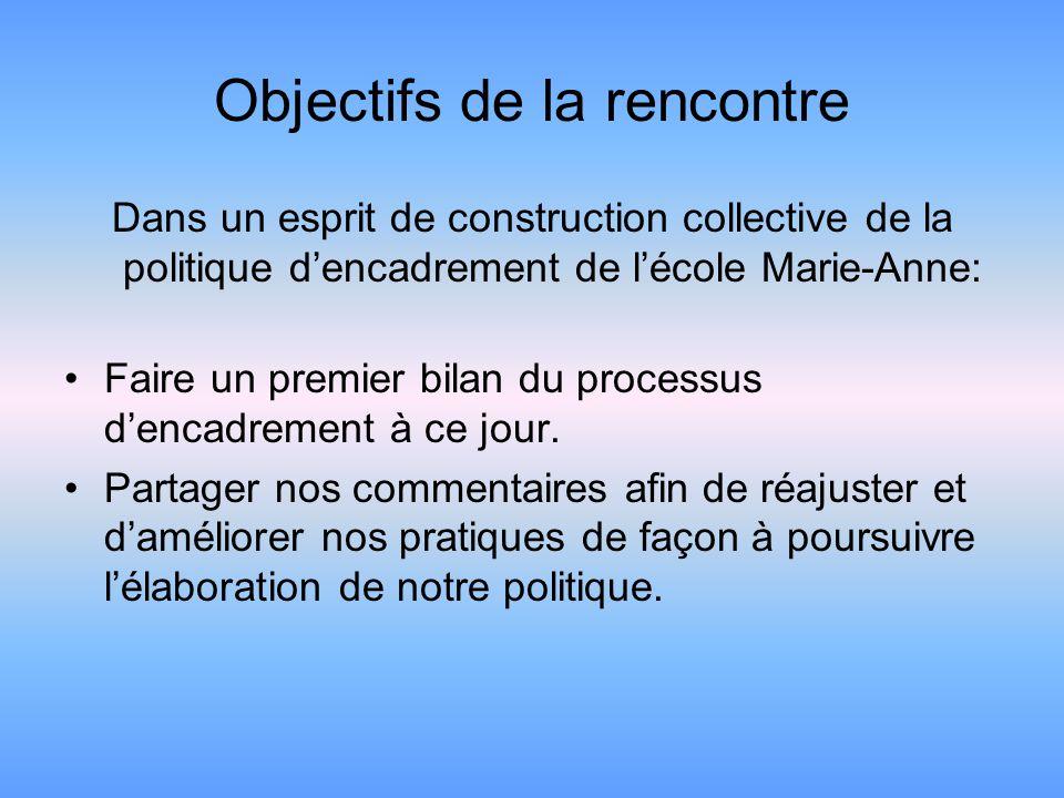 Objectifs de la rencontre Dans un esprit de construction collective de la politique dencadrement de lécole Marie-Anne: Faire un premier bilan du processus dencadrement à ce jour.